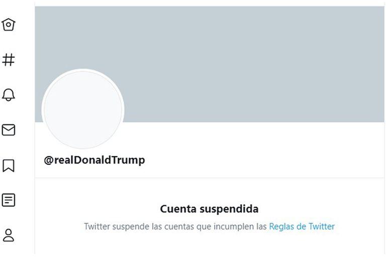 Así se ve la cuenta de Twitter de Donald Trump que fue suspendida para siempre