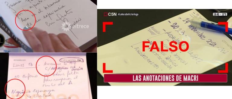 A la izquierda, la letra de Macri en la dedicatoria a Juana Viale y en la foto de Maximiliano Luna (Infobae); a la derecha la foto falsamente atribuida a Macri.