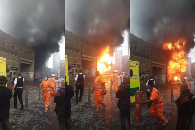 Susto en Londres: el momento de la explosión en el subte