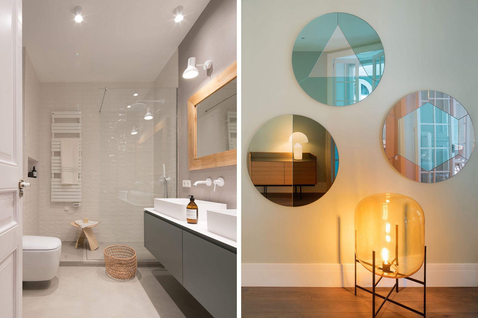 En el baño de la suite, los detalles en madera compensan la frialdad de las superficies impecables.