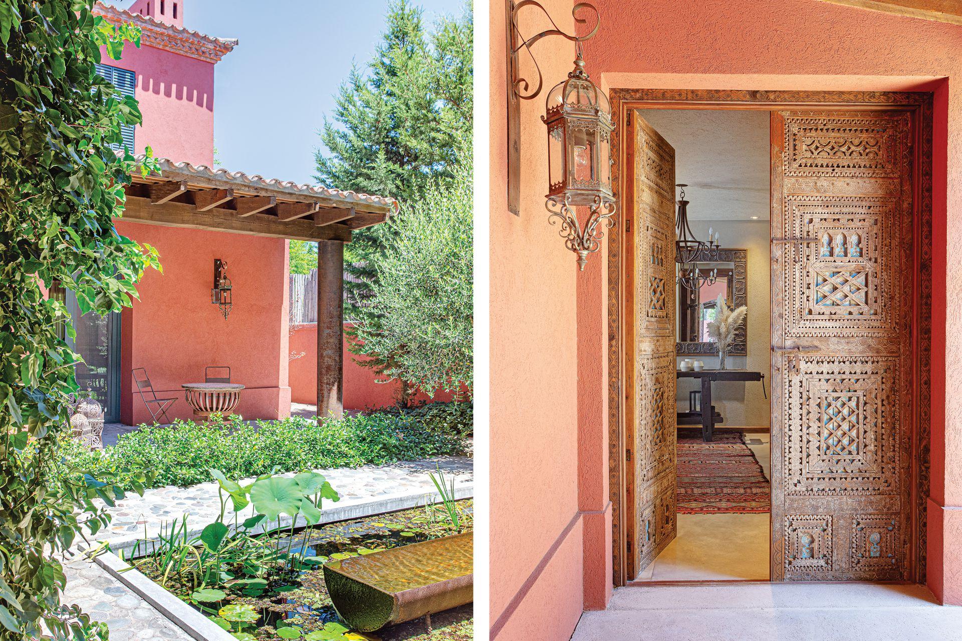 El patio de entrada se abre a un estanque con bebedero, copia del que está en el estudio Ricardo Pereyra Iraola, arquitectura y paisaje. Faroles (Iluminación Mejía Mangudo).