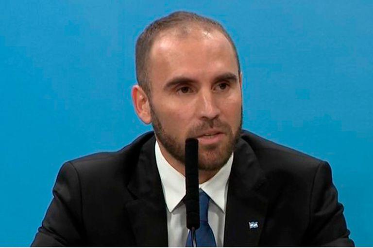 El ministro Martín Guzmán durante los anuncios