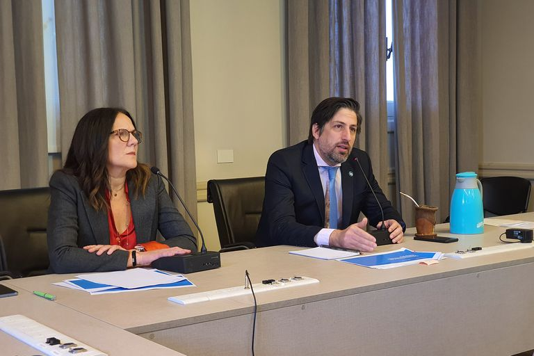 Gabriela Diker, secretaria de Evaluación e Información Educativa, junto con Nicolás Trotta, el ministro de Eduación, en la conferencia virtual; por el coronavirus, el 13 de marzo de 2020 fue el último día de clases en el nivel primario