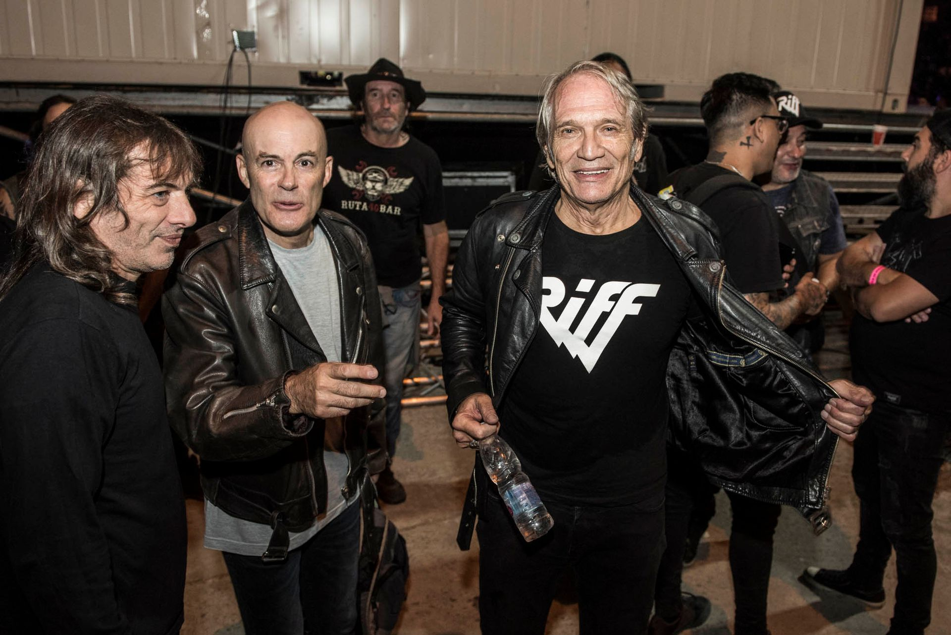 La última formación de Riff: Vitico con Luciano Napolitano y JAF en 2019, en el festival Rock en Baradero