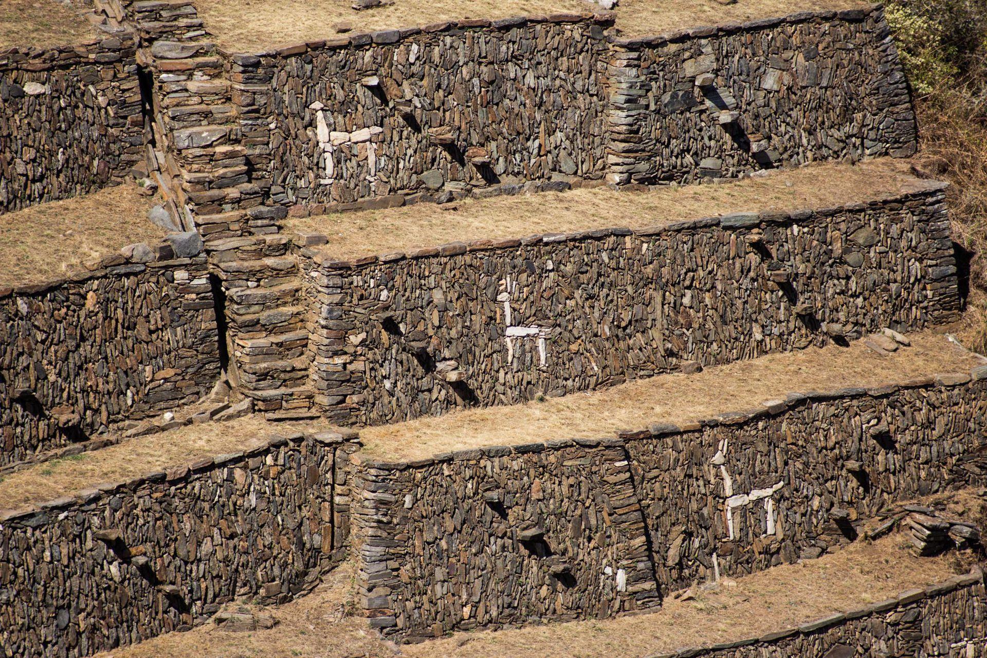 Enigmáticas figuras de llamas hechas con cuarzos blancos en el sector de terrazas ornamentales. Foto: Luis Agote