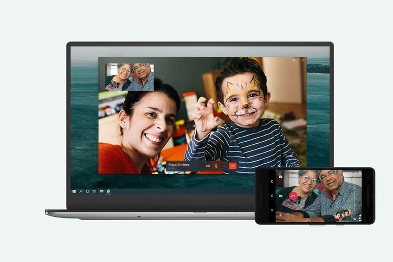 Así luce una videollamada de WhatsApp desde el escritorio de una computadora portátil con Windows 10