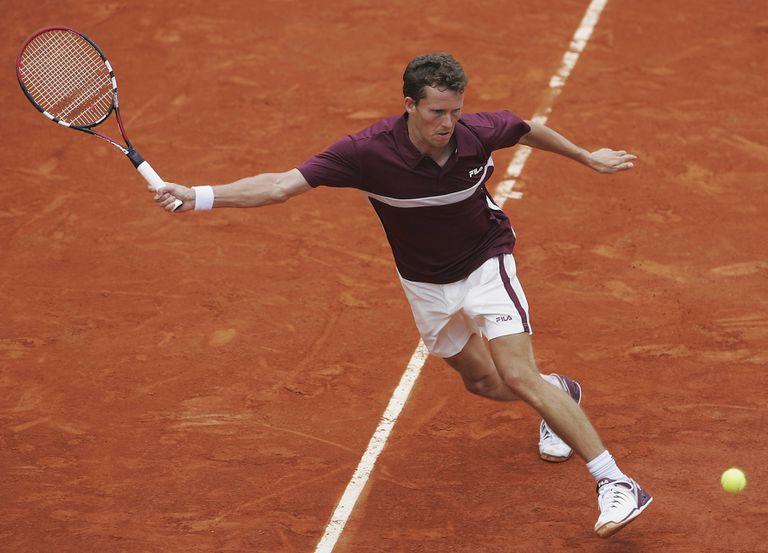 """El tenista alemán Lars Burgsmüller, en el Court 1 de Roland Garros: el 23 de mayo de 2005 fue la primera """"víctima"""" de Rafa Nadal en el polvo de ladrillo de París."""