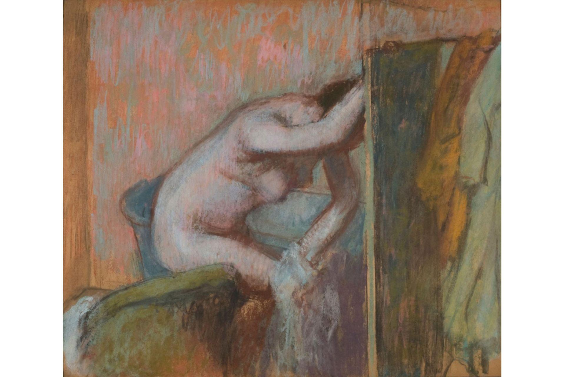 """""""La toilette apres le bain"""" (El arreglo después del baño), de Edgar Degas, 1888, pertenece a la colección del Museo Nacional de Bellas Artes desde 1933 cuando fue donada por Juan Girondo. Degas tenía una fascinación por lo """"momentáneo"""" que se manifiesta en esta serie de desnudos femeninos"""