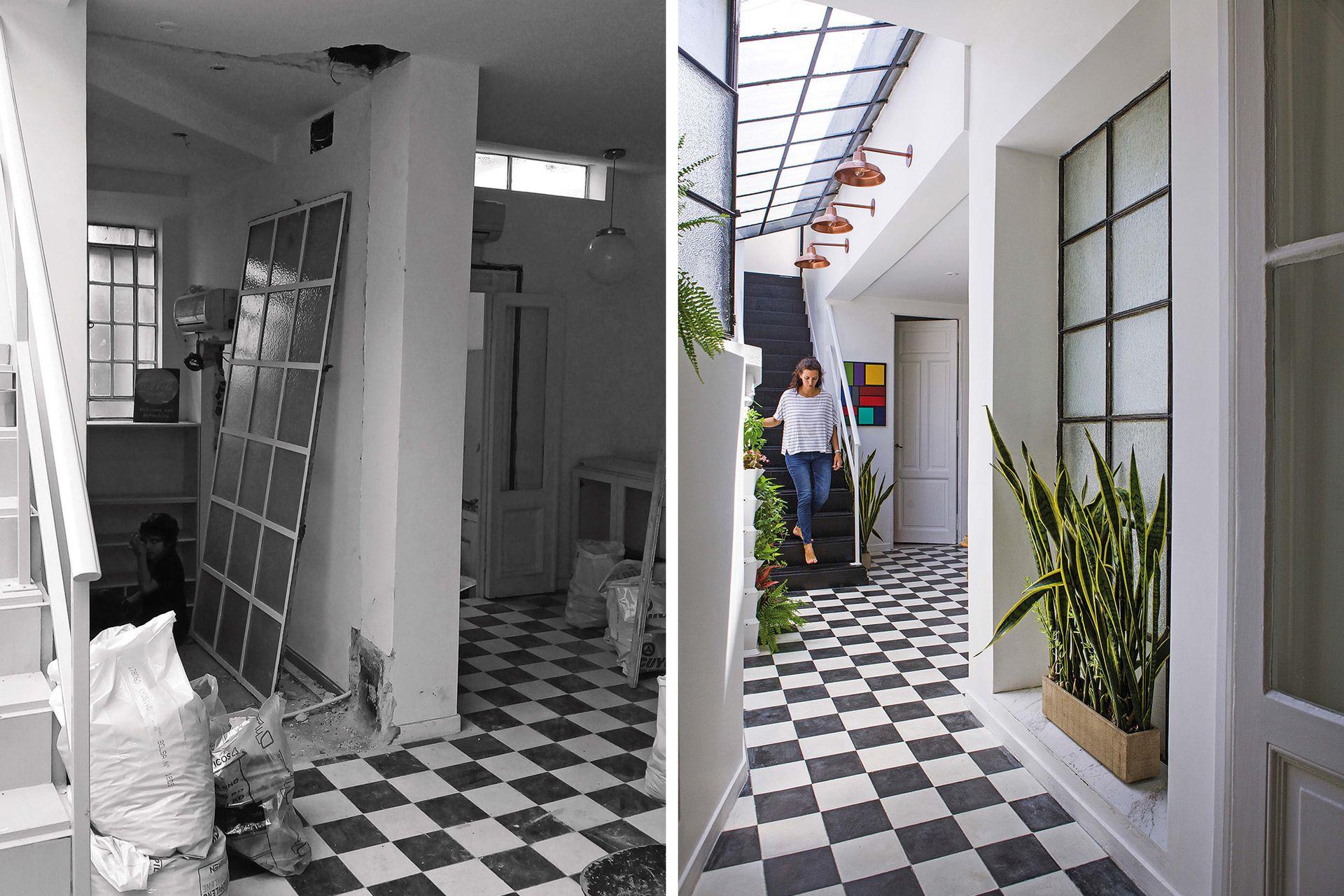 En el ingreso a la casa está la galería con un trío de galponeras de cobre (Tienda Luz) en línea con la escalera a la terraza.