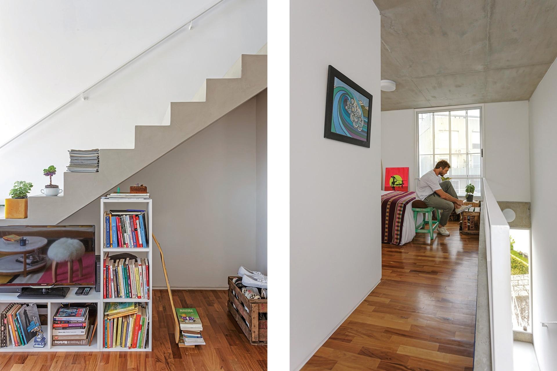Pablo imitó el recurso de su vecina: la escalera es ancha y tan linda que funciona muy bien para sumar objetos decorativos.