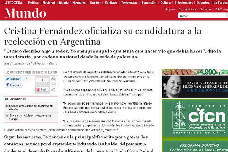 Además de la noticia, La Tercera, de Chile afirmó que hay unos 28,6 millones de argentinos mayores de 18 años habilitados para votar