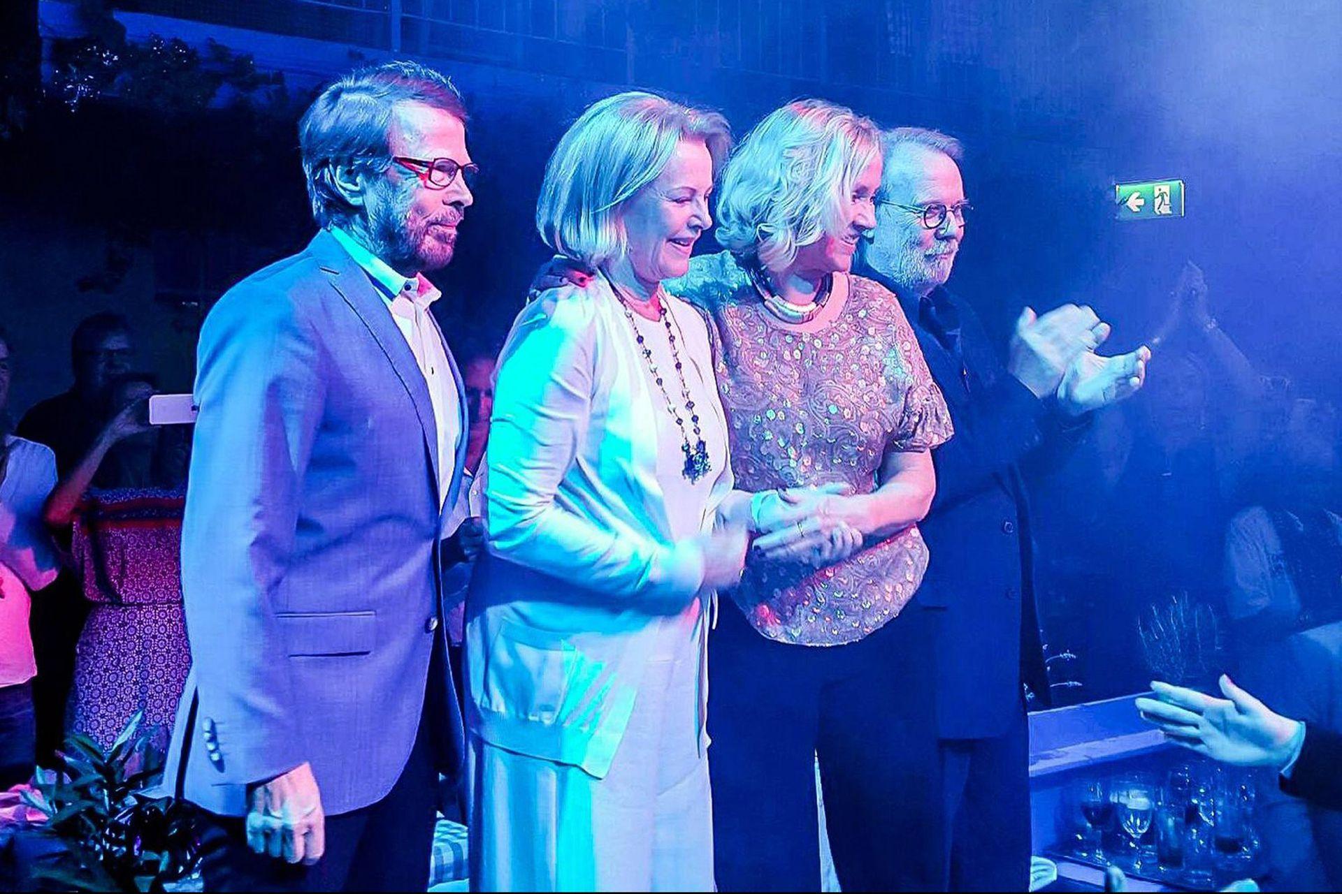 Bjorn Ulvaeus, Agnetha Faltskog, Benny Andersson y Anni-Frid Lyngstad en el estreno del musical Mamma Mia!, en Estocolmo