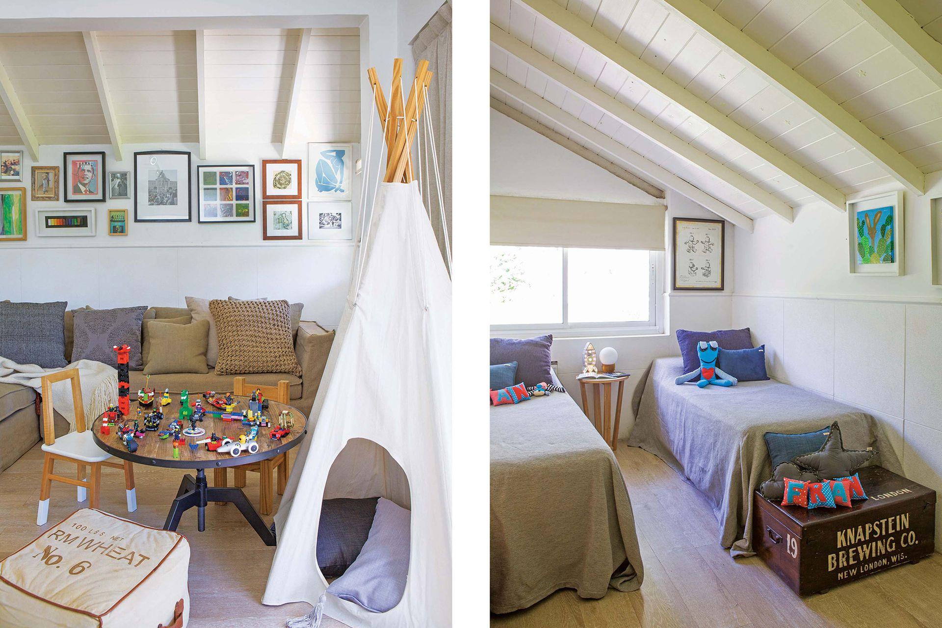En el playroom mesa de hierro y madera, puf de tela, sillón en L (Landmark). Almohadones y manta (todo de Cas a Cas). Carpa (Arredo). En el dormitorio, cubrecamas y almohadones (Huitrú). Muñecos de tela (Sopa de Príncipe). Mesa en paraíso (Chela Home). Cohete luminoso (Lucirte). Lámpara globo (I Wis