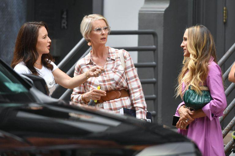 Sarah Jessica Parker, Cynthia Nixon y Kristin Davis rodando en Nueva York