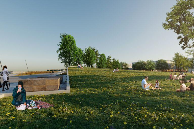 Junto al ro habr espacios verdes y detrs edificios