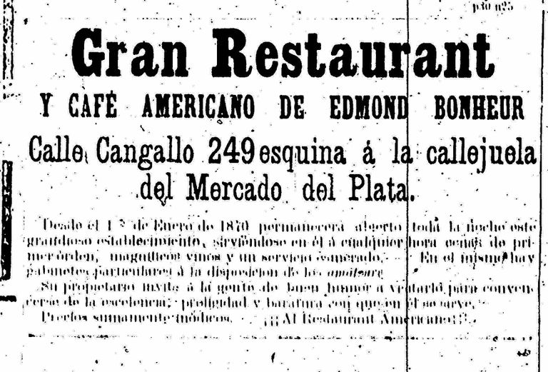 """Aviso del """"Americano"""", publicado en La Nación del 13 de enero de 1870. La cortada es mencionada como """"la callejuela del Mercado del Plata""""."""