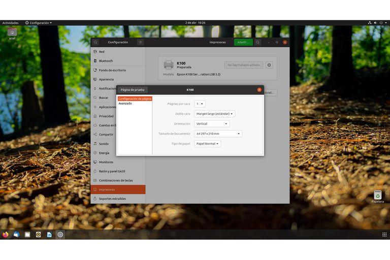 El Escritorio de Ubuntu 20.04 y las opciones de la impresora. Solo que no es necesario reemplazar Windows por Linux; a veces se puede tener lo mejor de los dos mundos