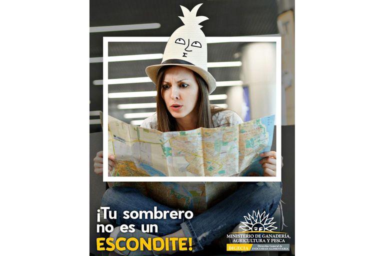 """Imagen de la campaña """"La barrera la armamos todos"""" organizada por el área de Barreras Sanitarias de la Dirección General de Inocuidad Alimentaria del MGAP para evitar que los turistas ingresen en Uruguay productos de origen animal o vegetal que pongan en riesgo la bioseguridad de ese país"""