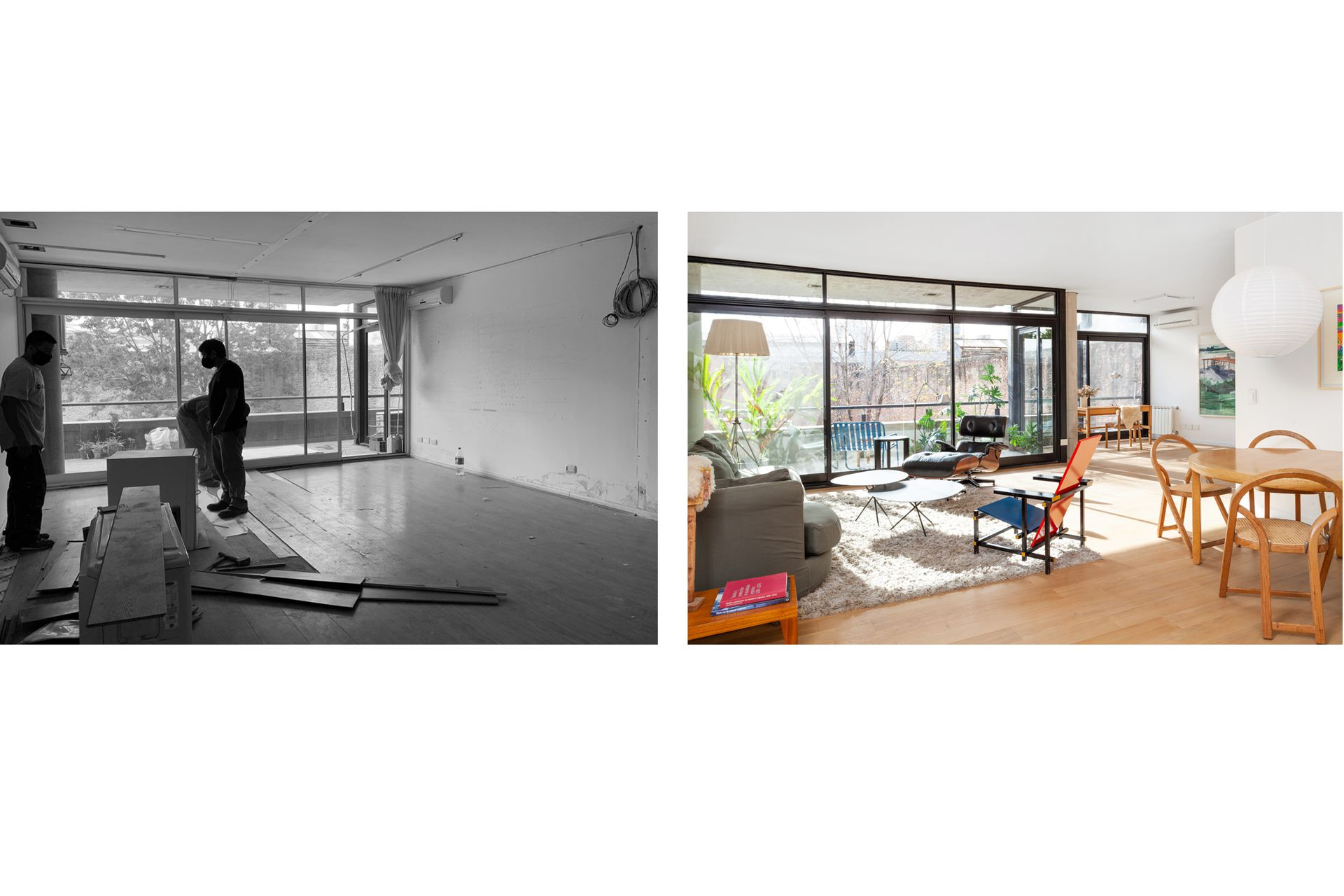 Con un ambiente menos, el área social ganó luz y fluidez. En todo el departamento colocaron nuevos pisos de roble (Listone Giordano) que unifican y aportan calidez a la estructura de hormigón.