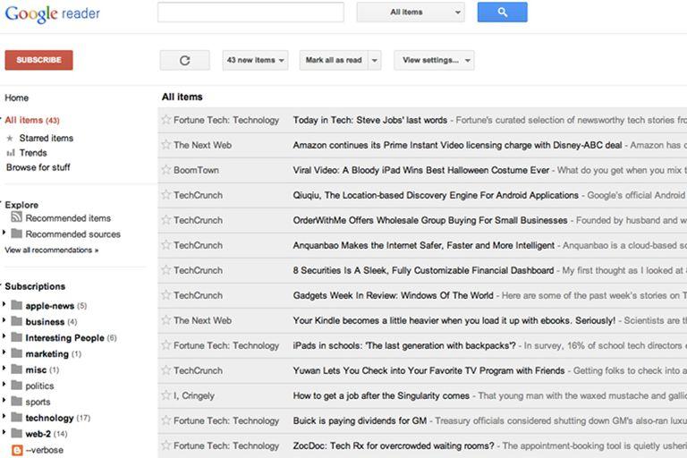 Una vista de Google Reader, que dejará de funcionar el 1 de julio