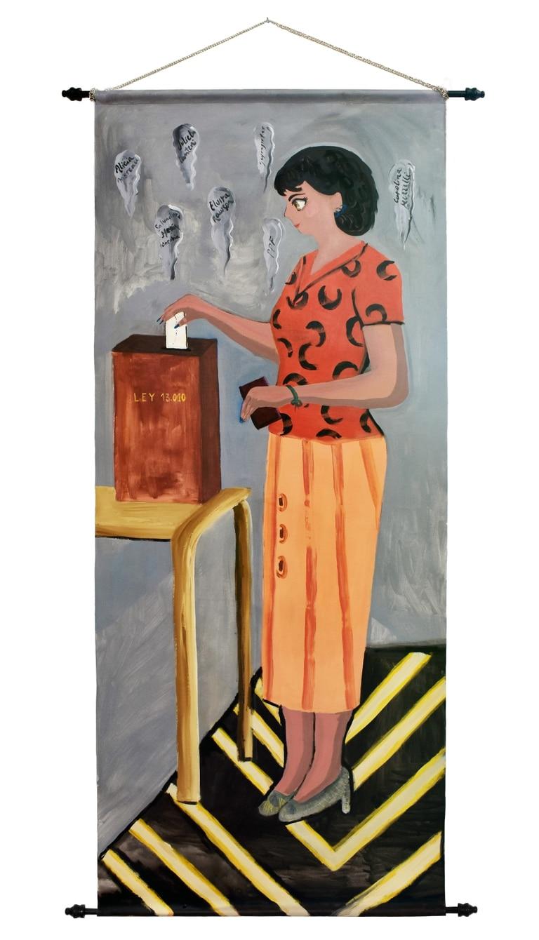 """""""Voto femenino"""", de Fátima Pecci, iIntegra la muestra individual  """"Banderas y banderines: Evita"""" que inaugura el 18 de marzo en el Museo Evita"""