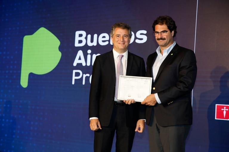 Luis Miguel Etchevehere y el ministro de Agroindustria bonaerense, Leonardo Sarquís