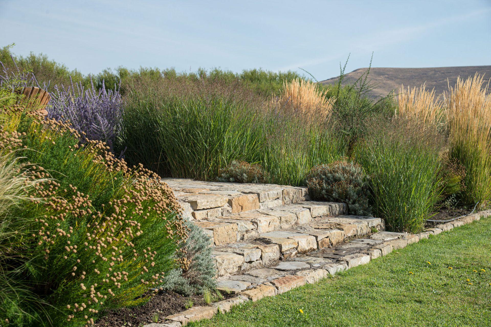 La piedra es un elemento protagónico en el conjunto formado por la casa en sí misma y los distintos trazados del jardín.  Su rusticidad potencia la delicadeza de las plantas elegidas.