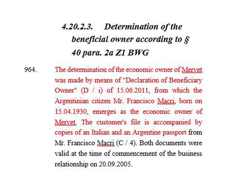 El informe de PwC que revela irregularidades en el Meinl Bank de Austria; allí aparece mencionado Franco Macri como titular de la sociedad Mervet