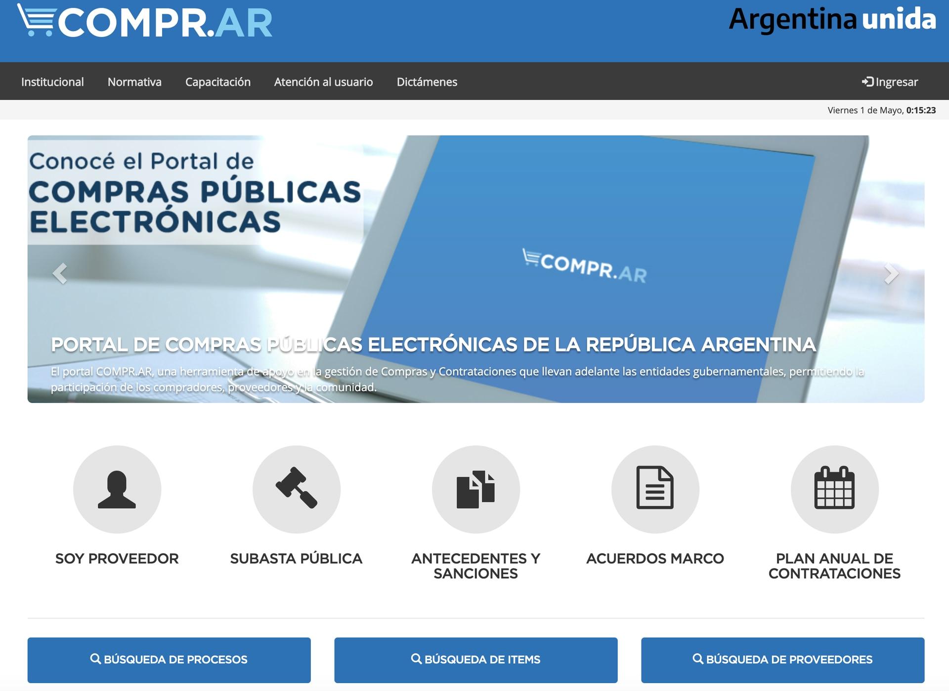 El Sistema Electrónico de Contrataciones, COMPR.AR