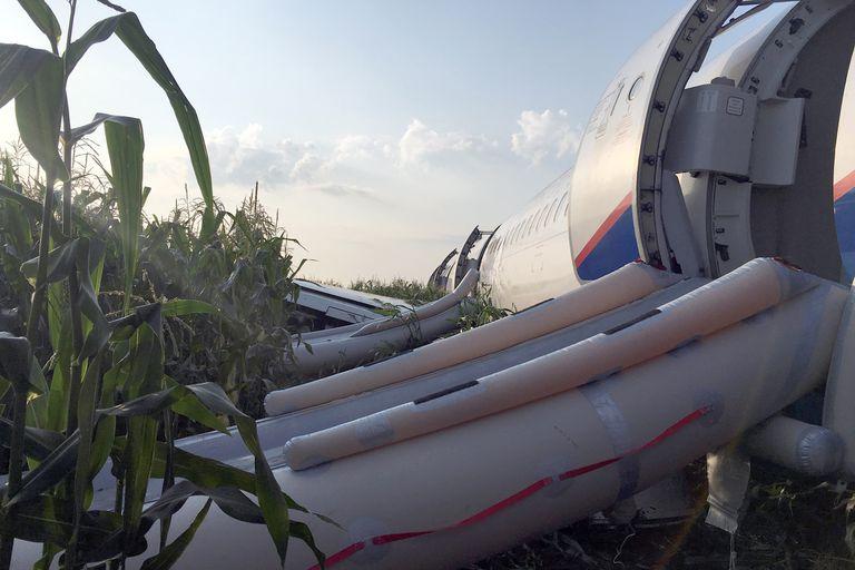 Rusia: un avión chocó con pájaros y debió aterrizar de emergencia sin ruedas ni motores