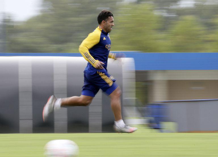 Carlos Tevez, en un entrenamiento en Ezeiza.