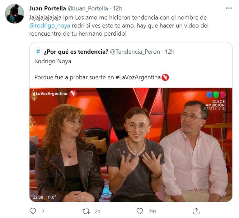 Juan Portella se divirtió con las bromas que hicieron los usuarios por su parecido a Rodrigo Noya y las agradeció