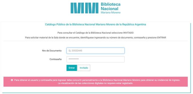 Ingresar al Catálogo Público de la Biblioteca Nacional Mariano Moreno en este enlace