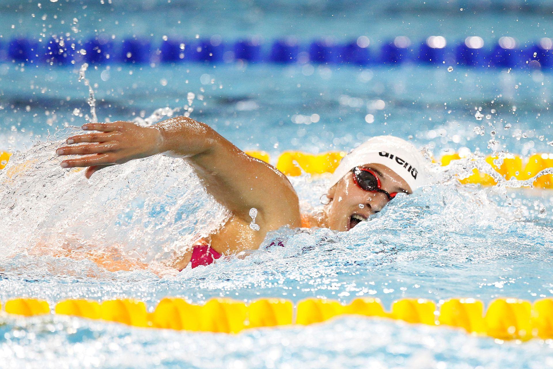 .Juegos Olímpicos de la Juventud, final de Mujeres 400 metros libre. Delfina Pignatiello medala de plata