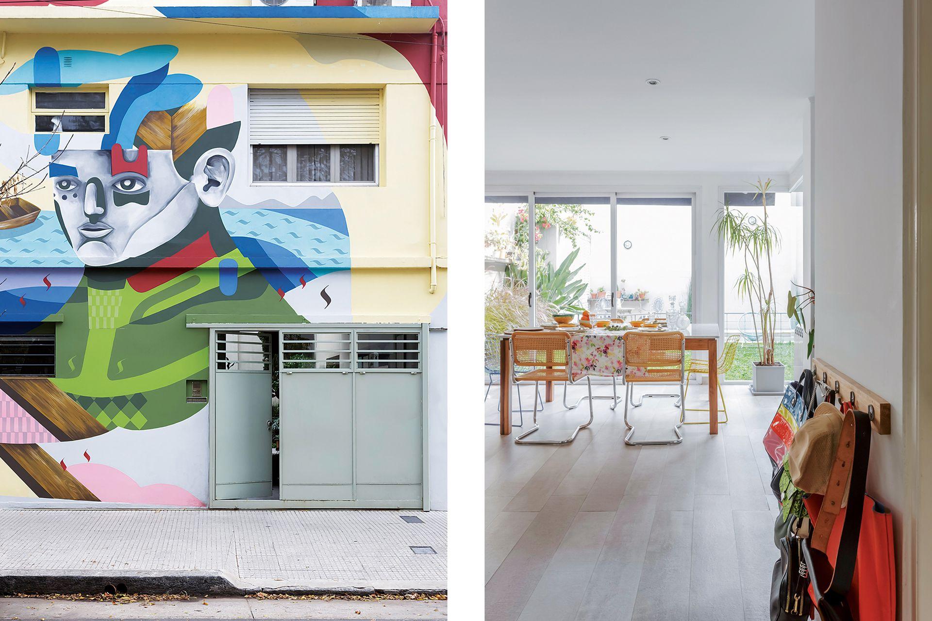 El mural de la fachada hizo de la vivienda una parada del circuito arty de la ciudad. Su autor es Pedro Perelman, artista, muralista y amigo de la familia.