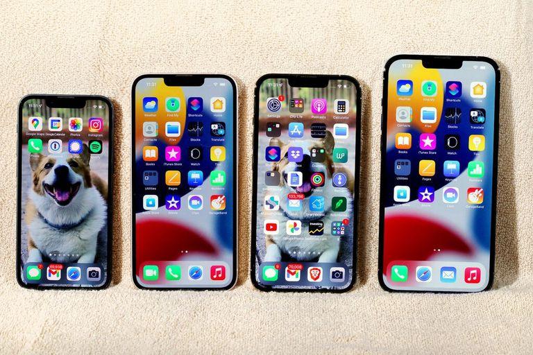 De izquierda a derecha, el iPhone 13 Mini, el iPhone 13, el iPhone 13 Pro y el iPhone 13 Pro Max