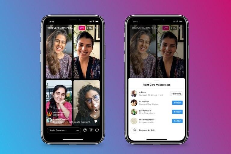 Las transmisiones de Instagram ahora podrán contar con un total de cuatro integrantes gracias a la nueva función Salas en vivo