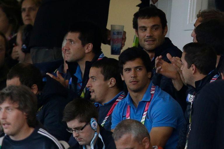 Mariano Galarza en la tribuna del estadio de Gloucester