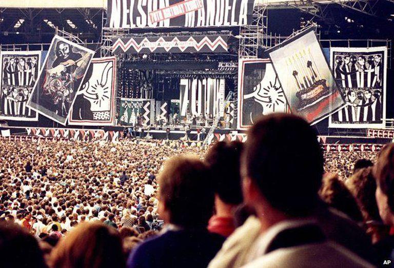 Concierto para la liberación de Nelson Mandela en el estadio de Wembley, Londres, 1988.