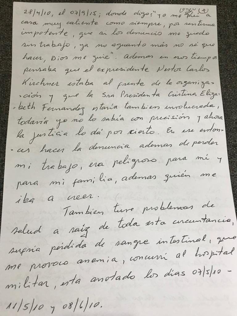 Página siete del escrito que Centeno entregó a Bonadio