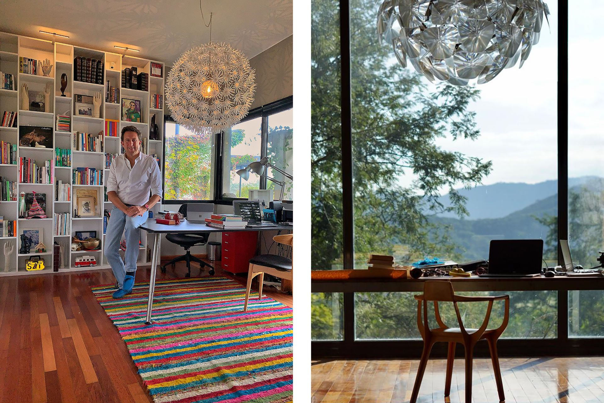 Izq.: El arquitecto Fernando Malenchini en el espacio que comparte con su pareja. Der.: El escritorio del diseñador Francisco Gómez Paz con vista a los cerros salteños.