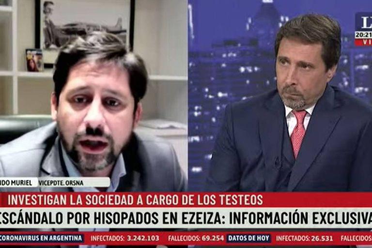 Fernando Muriel, vicepresidente de Orsna, y Eduardo Feinmann tuvieron un fuerte cruce al aire