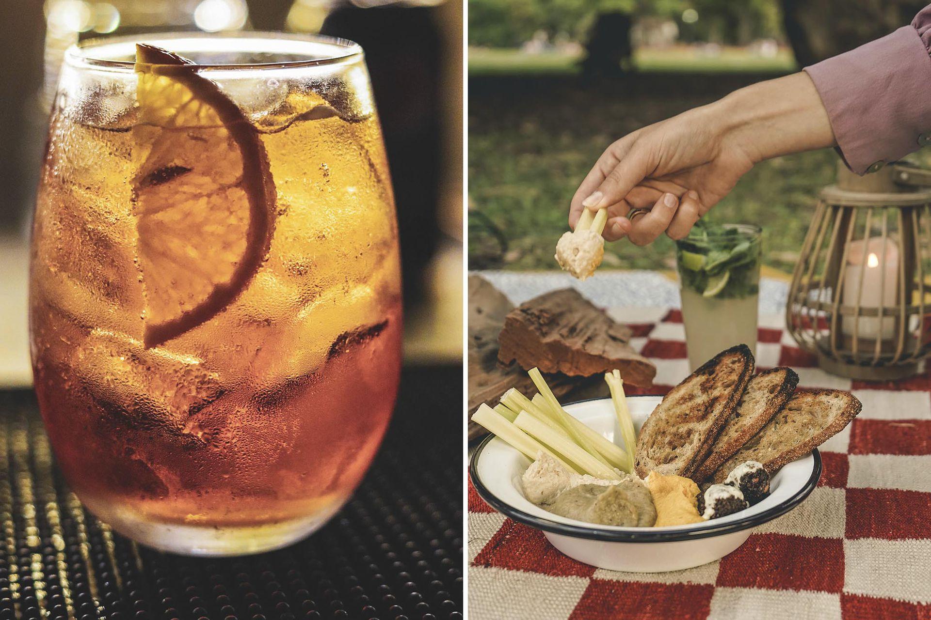 Imperdible. Un trago con tres dips de hummus (tradicional, hummus de zanahoria y babaganoush) con vegetales, falafel y raita.