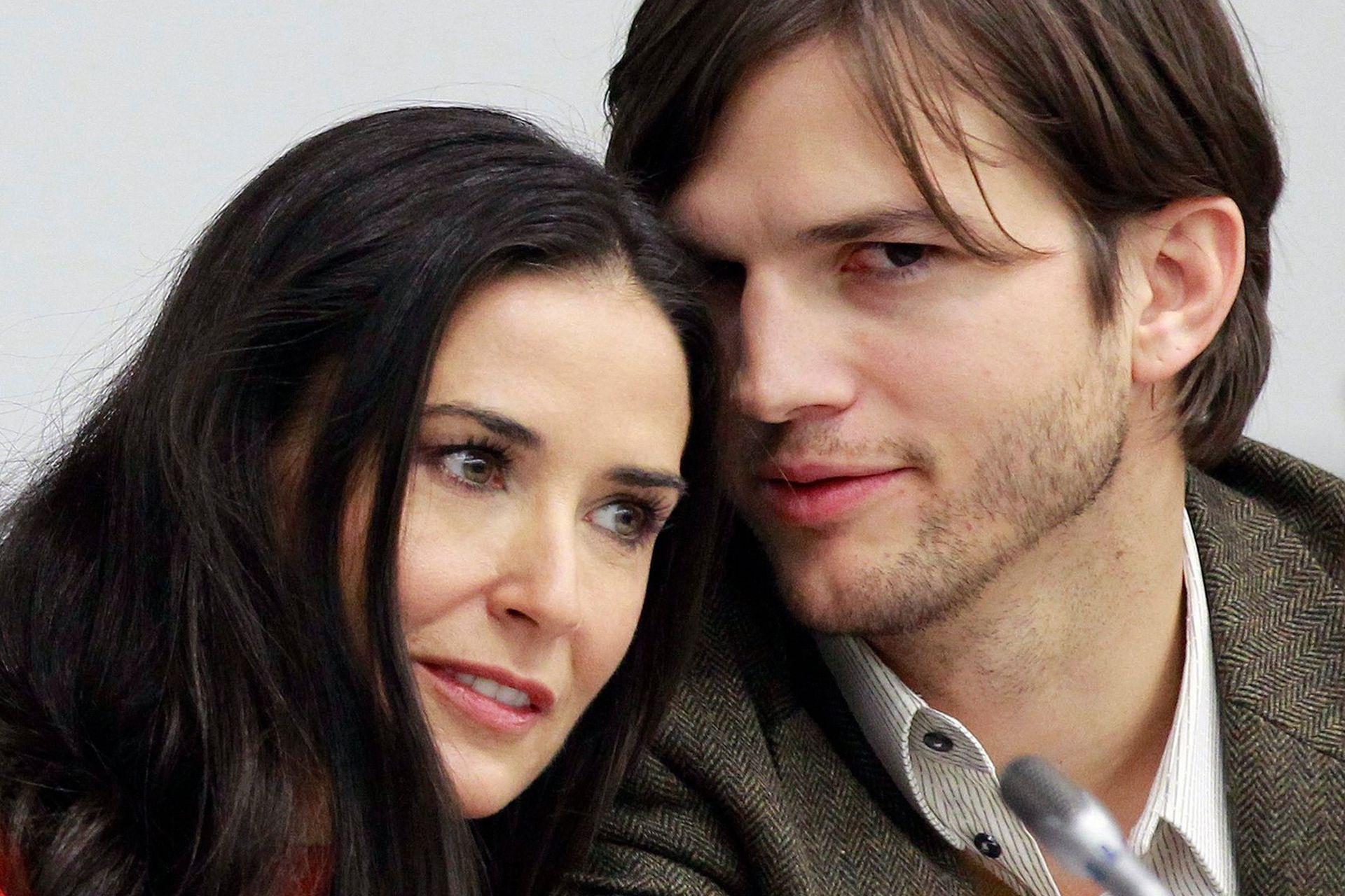 Demi Moore junto a Ashton Kutcher, con quién se casó en 2005 y años después se separó en medio de un escándalo mediático