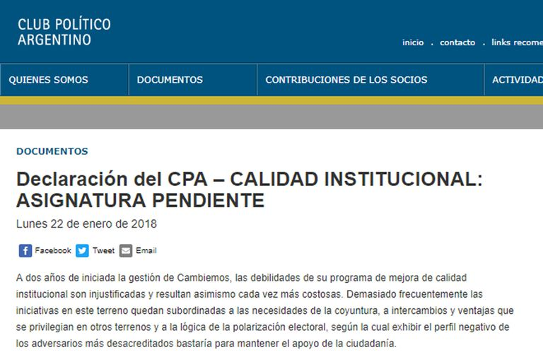 """Los intelectuales cercanos al Gobierno cuestionaron la """"calidad institucional"""""""