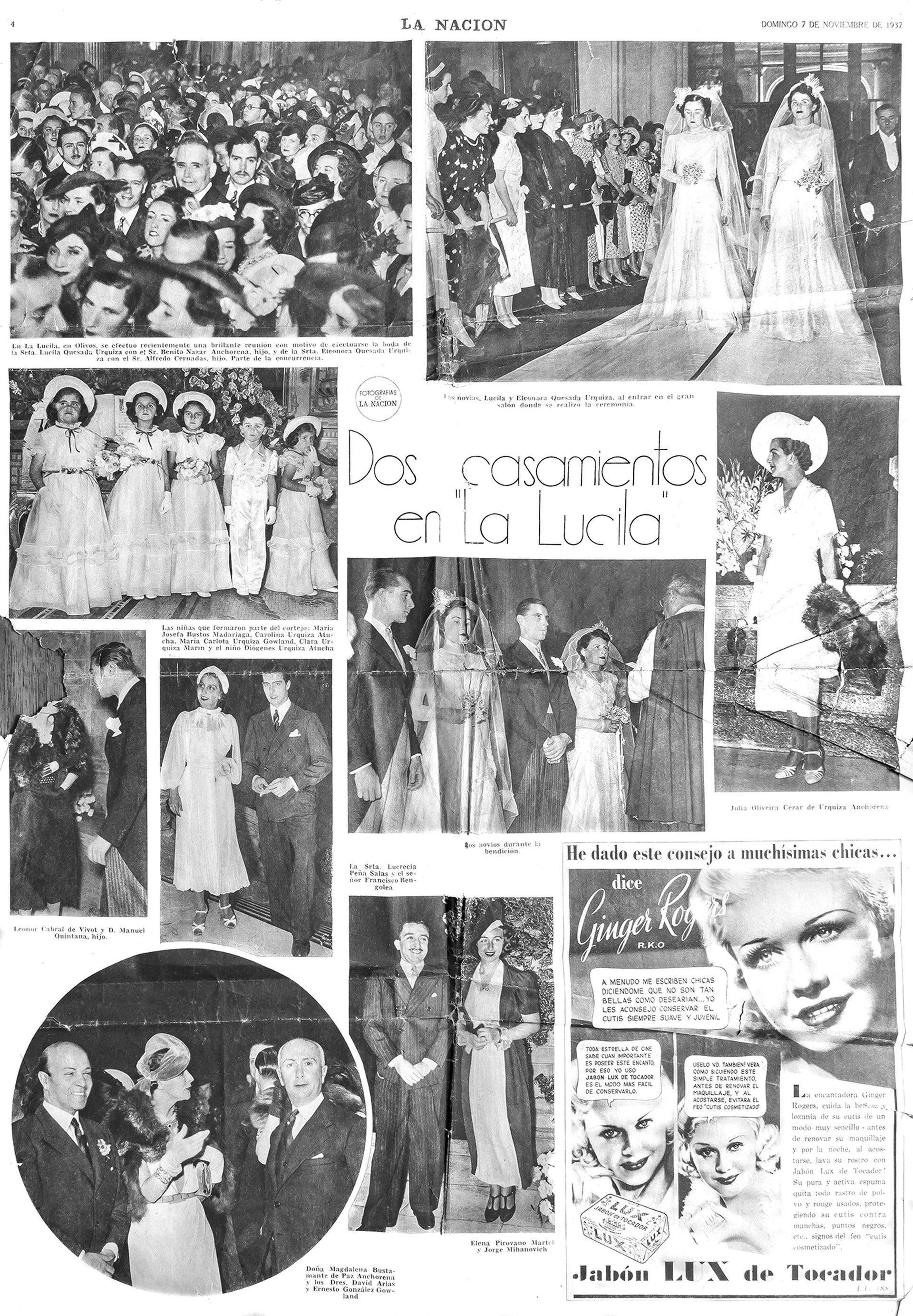Casamiento doble en La Lucila de las hermanas Lucila y Eleonora Quesada Urquiza con Benito Nazar Anchorena y Alfredo Cernadas, el 31 de octubre de 1937. Fue todo un acontecimiento social. El altar estaba todo hecho de claveles blancos.