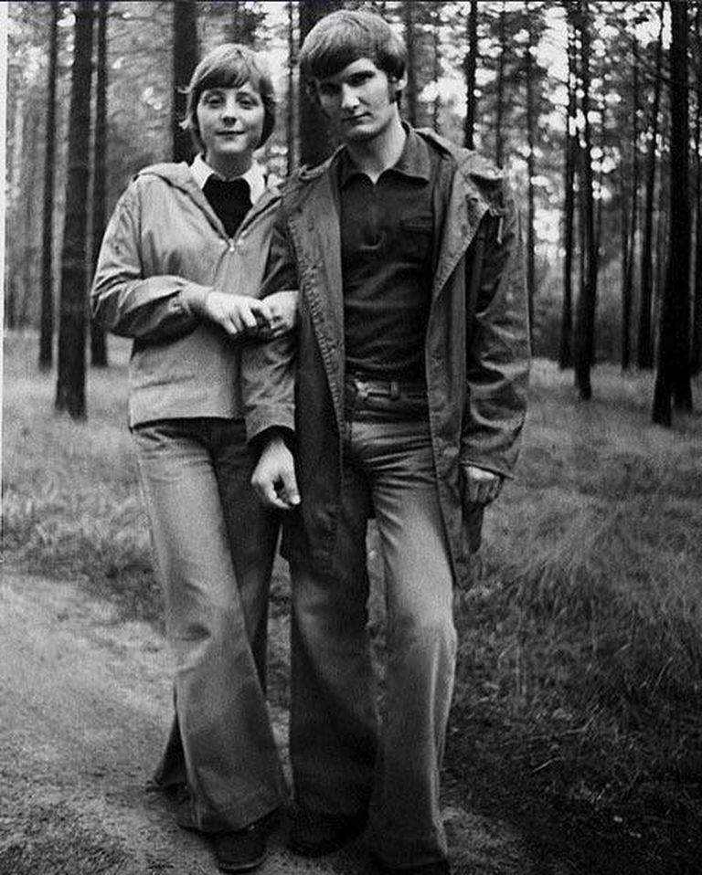Angela Merkel y su primer esposo, Ullrich Merkel