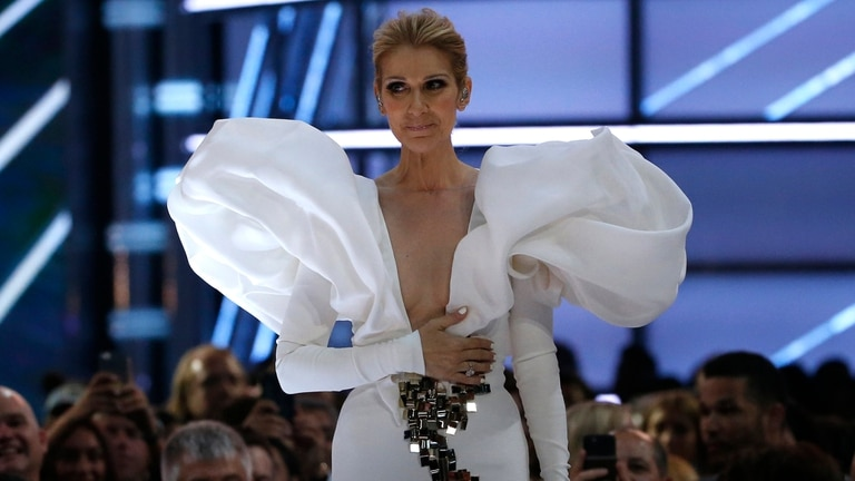 Celine Dion, emocionada, después de cantar My Heart Will Go On