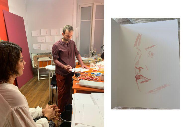 Artistas realizaban retratos de los invitados
