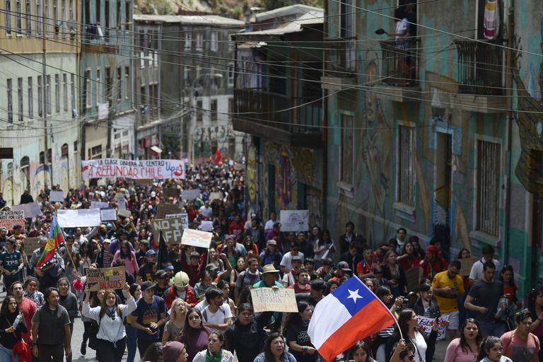 Los manifestantes volvieron a protestar ayer en Valparaíso